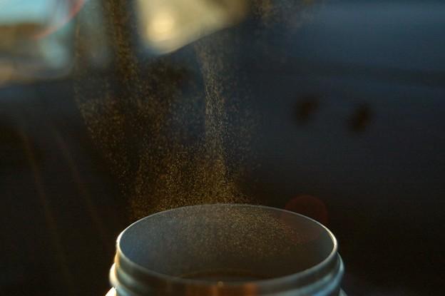 水筒からのぼる湯気