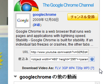Chromeエクステンション:Easy Youtube Video Downloader(拡大)