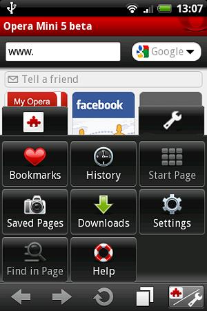 Opera Miniエクステンション機能案:設定画面