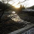 写真: 神山町、鮎喰川の夕陽