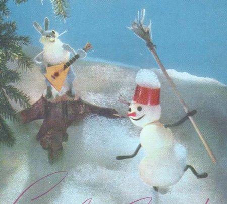 雪だるま、うさぎのバラライカでダンス