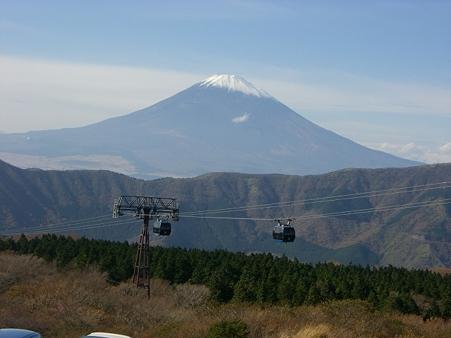 大涌谷から臨む富士山。