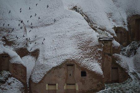 2011.01.26 トルコ カッパドキア ウチヒサル・カヤ・ホテル 鳩の谷に雪