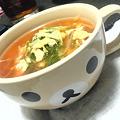 写真: いつぞやの夕食その5:トマトと水菜のコンソメスープ