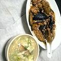 写真: いつぞやの夕食その6:麻婆茄子&水菜と卵の中華スープ