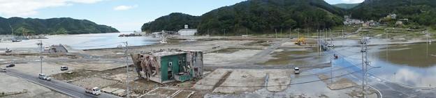 台風で浸水した女川町中心部(震災による地盤沈下)_120620_08