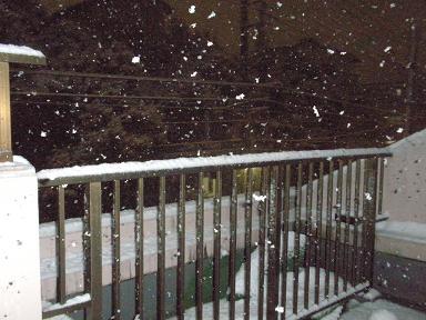 深夜ぼたん雪にかわる